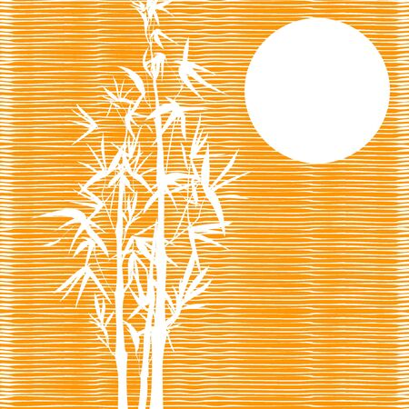 Vector isolated ink bamboo with leaves and branches on a textured orange background. Illustration in Chinese and Japanese style, traditional graphics