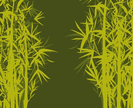 Vector isolated ink bamboo with leaves and branches on a green background. Illustration in Chinese and Japanese style, traditional graphics Vectores