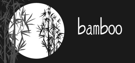 Vector isolated black and white ink bamboo with leaves and branches on a dark background. Illustration in Chinese and Japanese style, contrast graphics