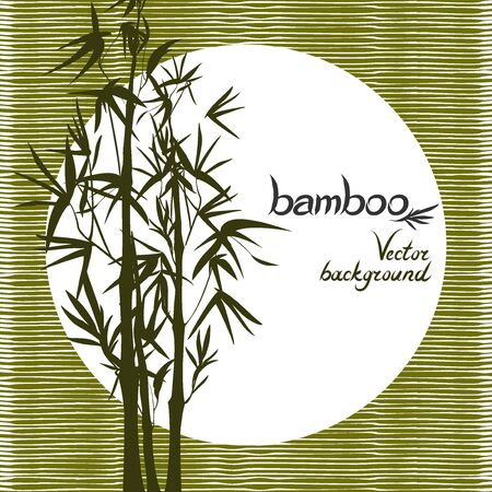 Vector isolated ink bamboo with leaves and branches on a textural background. Illustration in Chinese and Japanese style, traditional graphics Vectores