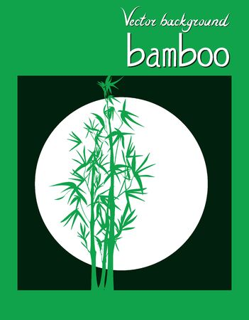 Vector isolated black and green ink bamboo with leaves and branches on a circle background. Illustration in Chinese and Japanese style, contrast graphics Vectores