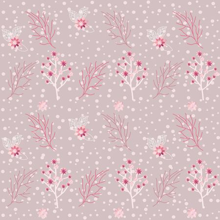 Seamless vector abstract pattern for the holiday of spring, romance, love, date, engagement and invitation with sakura flowers, cherries, petals, leaves on a gentle textural background
