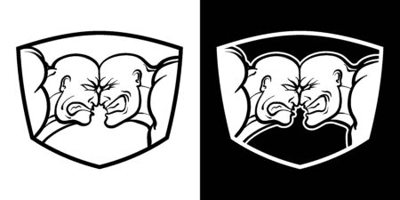Confrontation of two parties, vs. Rage and anger on faces, against each other. Vector black and white isolated bright badge for conflict, sport, manifesto, bikot, protesters and rivals