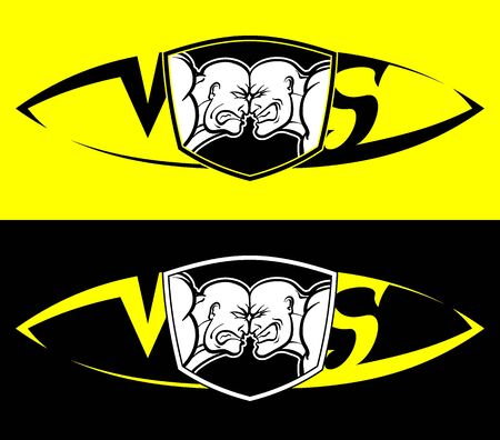Confrontation of two parties, vs. Rage and anger on faces, against each other. Vector black and white and yellow isolated bright sign for conflict, sport, protesters and rivals Vettoriali