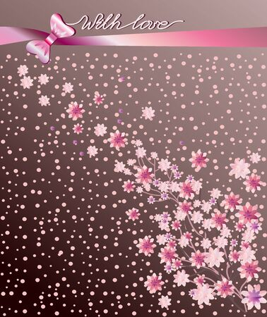 Vector floral pattern. Spring season, sakura branch - Japanese cherry, delicate isolated flowers, branch, petals, bouquet on a brown background