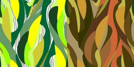 Vector. Abstract seamless multicolored grassy double pattern with a bright, earthy background. Trend and floral elements for the design of textiles, wallpaper, cards, invitations and celebrations