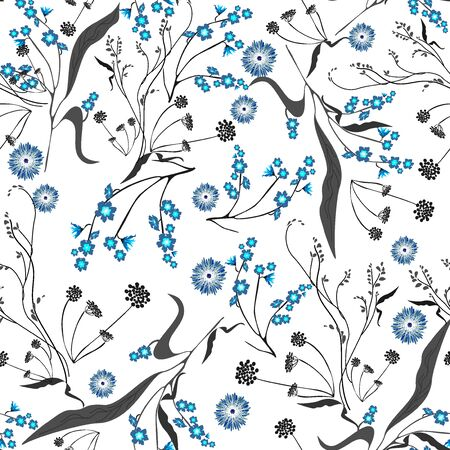 Vector. Seamless gentle, linear, spring, summer, isolated pattern with a white background. Trend and floral elements for the design of textiles, wallpaper, cards, invitations and celebrations