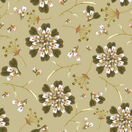 Floral abstract seamless vector isolated pattern. Trendy art style on a green background. Spring, summer field plants for the design of backgrounds, textiles, wallpaper, postcards, ceramics.