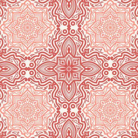 Abstract seamless vector isolated geometric pattern. Trendy art style on a white background. Oriental fractal ornament for decoration of backgrounds, textiles, wallpaper, cards, ceramics.