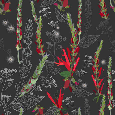 Bright contrasting seamless pattern with thickets of red flowers, pods, leaves and field inflorescences. Plant elements, their contours and silhouettes are densely randomly arranged. Vector image on a dark background