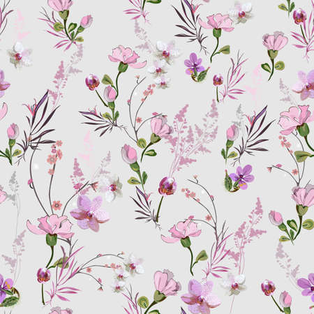 Cute floral pattern with small pink flowers of orchids, violets, roses and buds on a light background. Seamless vector with various botanical elements arranged randomly. For textile, wallpaper, tile