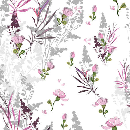Delicate floral pattern with many varieties of elements on a white background. Seamless vector with silhouettes, and drawings of flowers, stems and leaves arranged randomly. For textile, wallpaper, tile