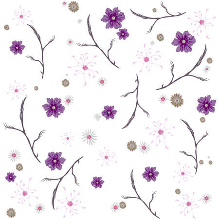 Floral abstract seamless vector isolated pattern. Trendy art style on a white background. Spring, summer field plants for the design of backgrounds, textiles, wallpaper, postcards, ceramics