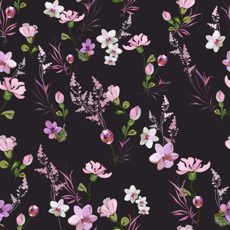 Bright floral pattern with small pink flowers of orchids, violets, roses and buds on a dark background. Seamless vector with various botanical elements arranged randomly. For textile, wallpaper, tile