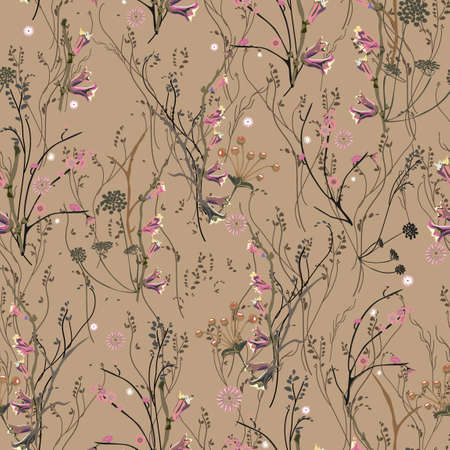 Floral abstract seamless vector isolated pattern. Trendy art style on a brown background. Spring, summer field plants for the design of backgrounds, textiles, wallpaper, postcards, ceramics Çizim