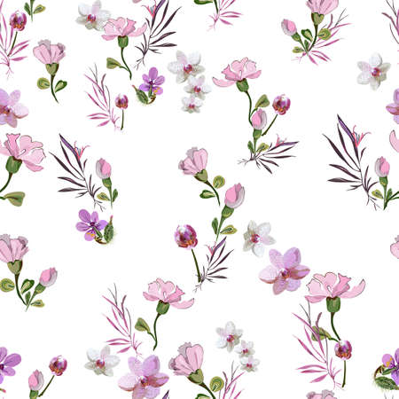 Delicate cute floral pattern with little pink flowers of orchids, violets, roses and buds on a white background. Seamless vector with botanical elements arranged randomly. For textile, wallpaper, tile  イラスト・ベクター素材