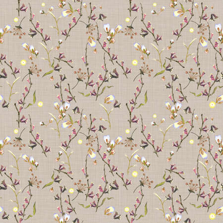 Floral abstract seamless vector isolated pattern. Trendy art style on a textural background. Spring, summer field plants for the design of backgrounds, textiles, wallpaper, postcards, ceramics