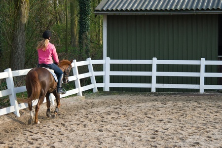 Horse rider girl in the manege photo
