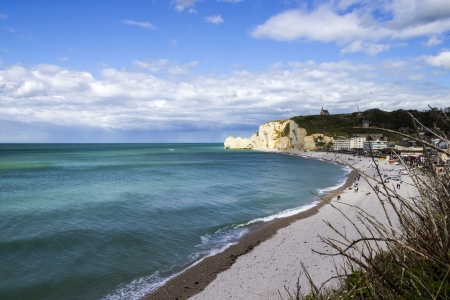 Etretat on the Upper Normandy coast in the North of France. photo