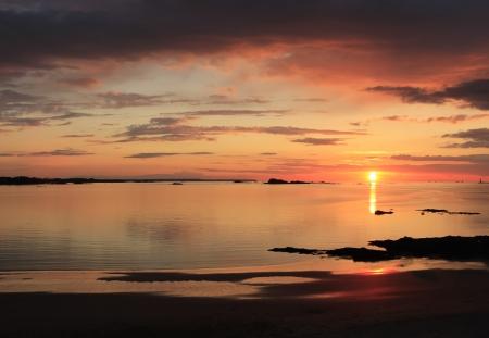 Beautiful sunset on the beach, northern France Stock Photo - 13799147