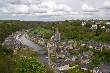 rance: kind of bird s-eye view on Dinan, Brittany, Northern France