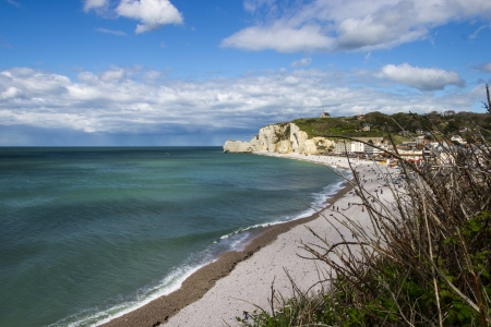 Etretat on the Upper Normandy coast in the North of France photo