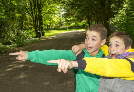 Portrait of two surprised boys, tweens are pointing and hugging  photo