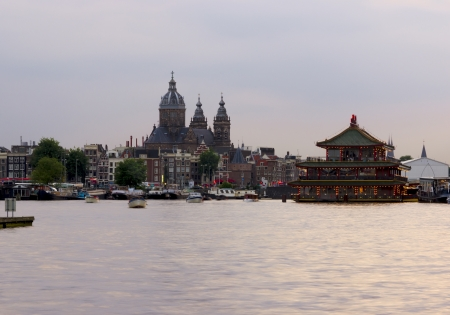 Amsterdam city, the Netherlands, twilight photo