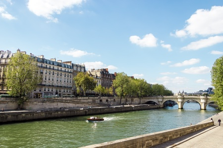 Embankment of the River Seine and the historical architecture in Paris photo