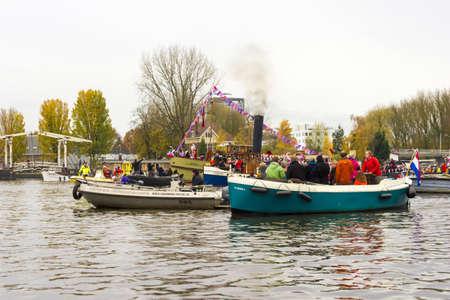 AMSTERDAM, NETHERLANDS - NOVEMBER 18  Santa Claus arrives in Holland by boat on November 18, 2012 in Amsterdam, Netherlands