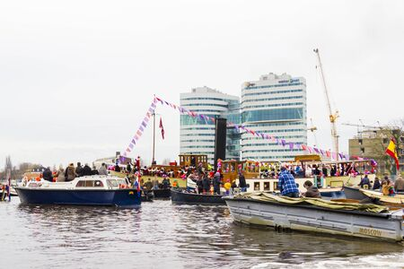 AMSTERDAM, NETHERLANDS - NOVEMBER, 18, 2012  Sinterklaas arrives in Holland by boat Stock Photo - 16372359