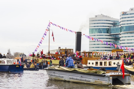 AMSTERDAM, NETHERLANDS - NOVEMBER, 18, 2012  Sinterklaas arrives in Holland by boat