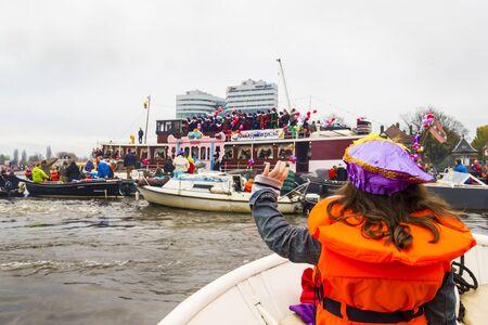 AMSTERDAM, NETHERLANDS - NOVEMBER, 18, 2012  Sinterklaas arrives in Holland by boat