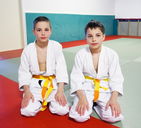 sports hall: boys in sports hall is engaged in judo