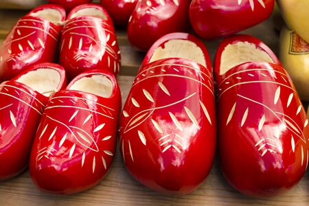 clog: Dutch traditional wooden shoes with ornament, clogs, symbol of the Netherlands.
