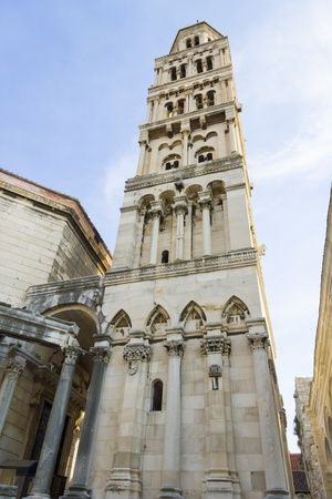 Diocletian palace ruins and cathedral bell tower, Split, Croatia. photo