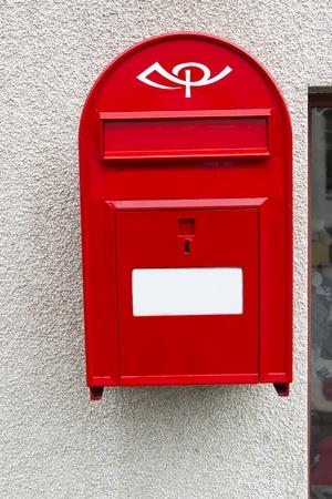 metall: Modern red Mailbox in Iceland. Horizontal shot Stock Photo