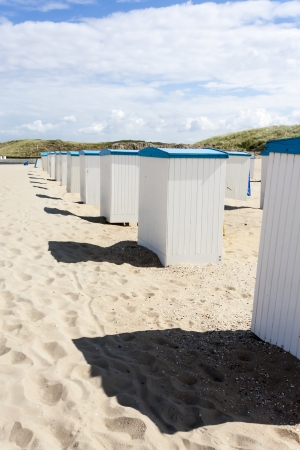 Beach huts along the North Sea in the Netherlands photo