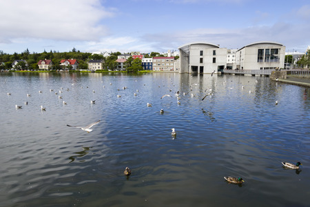 reykjavik: Pond in central Reykjavik Stock Photo