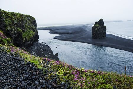 Black volcanic sand on the south coast of Iceland photo
