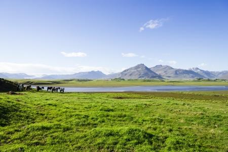 Beautiful lake against mountain background, Iceland, good summer weather photo