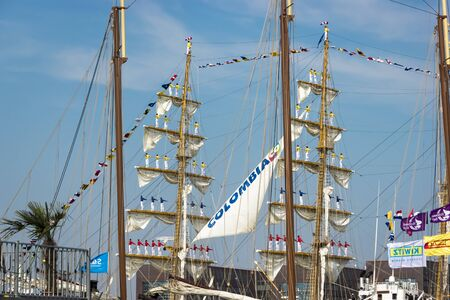 ijmuiden: Port of Amsterdam, Noord-HollandNetherlands - August 23-08-2015 -Tall ship the Stad Amsterdam is sailing from IJmuiden to Amsterdam during the big event SAIL. SAIL is the biggest nautical event ever.