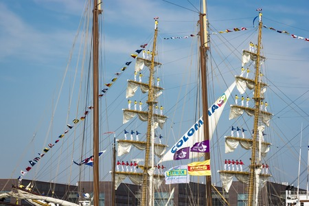 ijmuiden: Port of Amsterdam, Noord-HollandNetherlands - August 19-08-2015 -Tall ship the Stad Amsterdam is sailing from IJmuiden to Amsterdam during the big event SAIL. SAIL is the biggest nautical event ever.