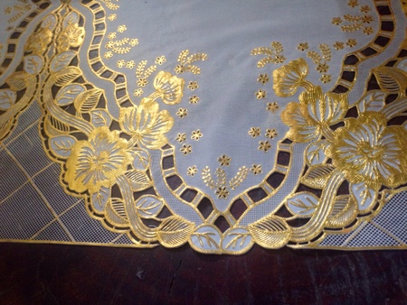 gold: Elegant gold and white mantlepiece Stock Photo