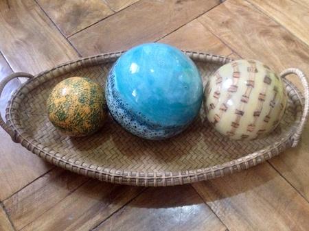 resin: Resin balls centerpiece in a woven basket