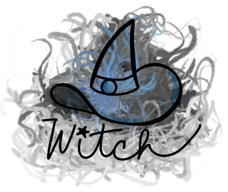 doodle of witch hat with label and colorful fumes