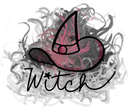 doodle of witch hat with label and colorful fumes Vektorové ilustrace