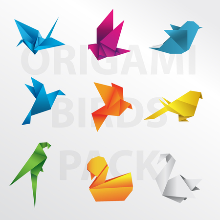 Origami Bird Pack Royalty Free Cliparts Vectors And Stock