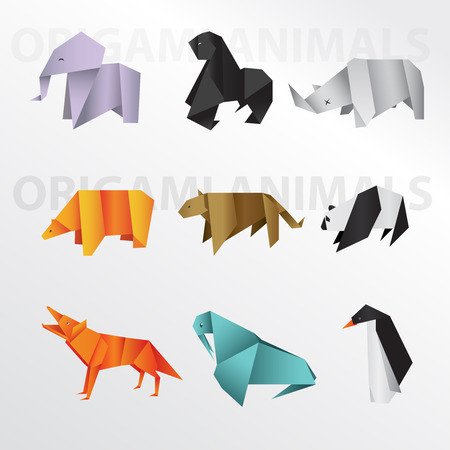 Origami animals collection Stock Photo