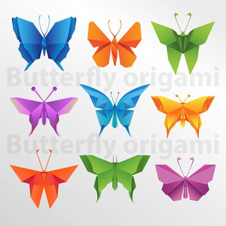 Butterfly origami paper art collection on white background illustration.